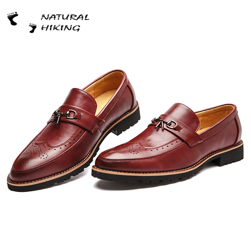 2015 Summer Men Leather Shoes New Genuine Leather Shoes Man Oxford Block Pointed Toe Flat Fashion Slip On Dress Business Zapatos(China (Mainland))