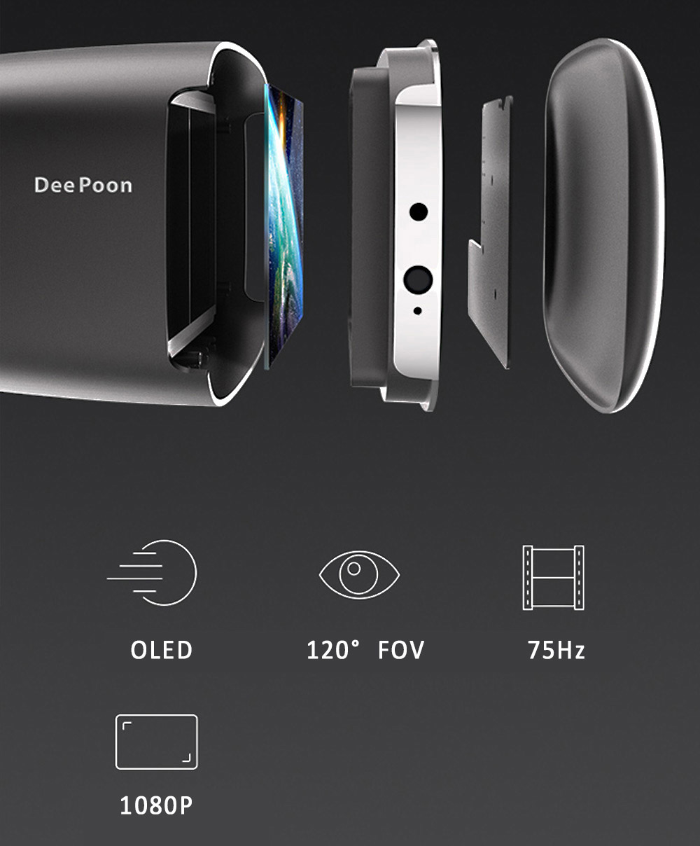 Deepoon E2 Virglass 3D Head-Mounted VR Glasses Virtual Reality Full View Headset Game Video Private Theater For Windows 7 8