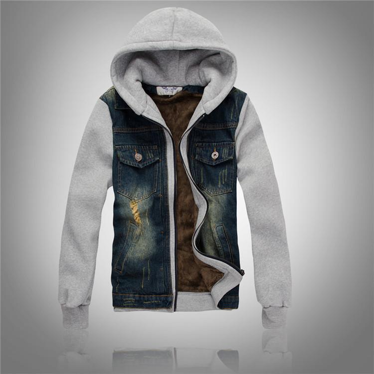 2015 New Korean mens Slim hooded denim jacket men s jeans plus velvet jacket men winter