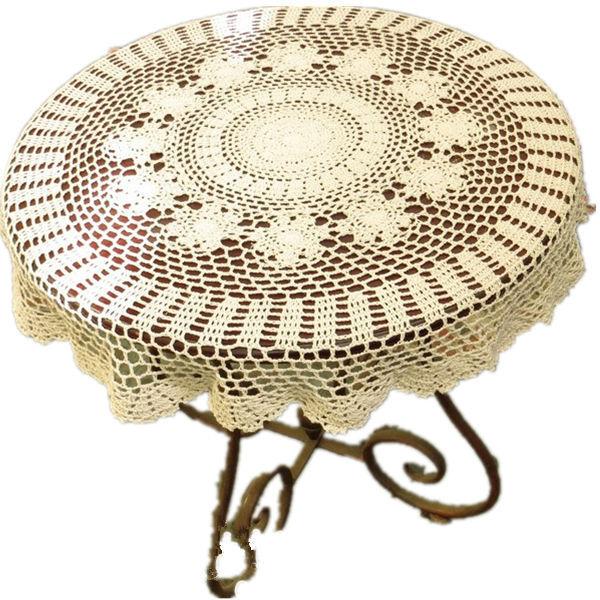 handmade crochet tablecloths round Crochet flower American Luxury doily cotton mat IKEA home decor wedding [Can custom] 90% off(China (Mainland))