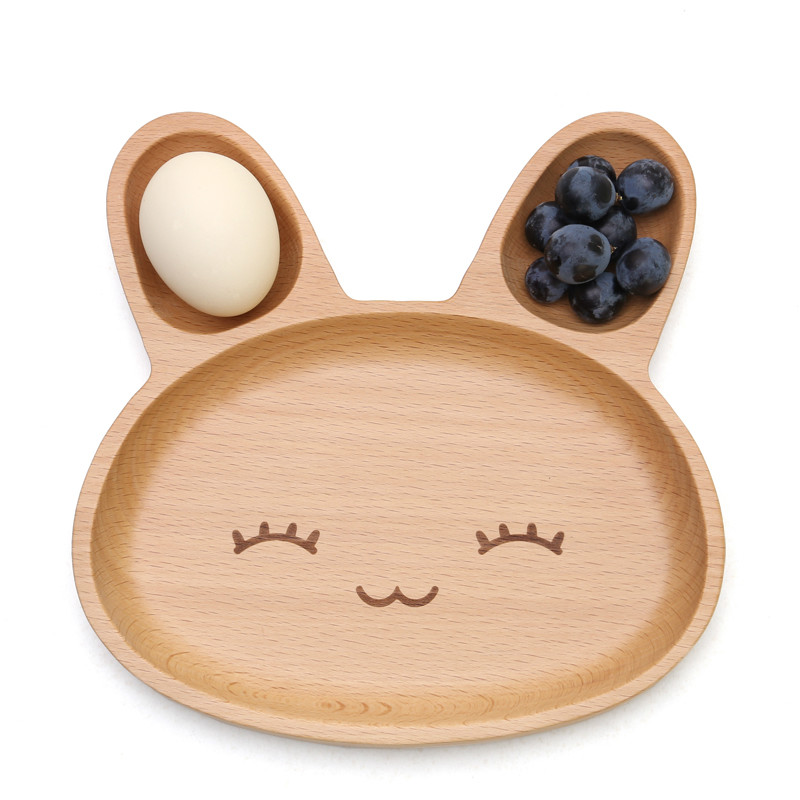 Cute Rabbit Food Dish Appetizer Platter Wood 3 Compartment Dinner Plate Tray 20*20*6.2cm DPW0931 Free Shipping(China (Mainland))