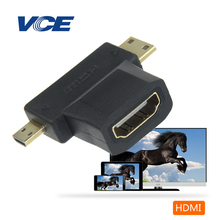 VCE(1Pack)mini displayport to hdmi,micro hdmi to hdmi three-in-one(2in1) female to male adapter  to dvi, audio 3D, HDTV, XBOX