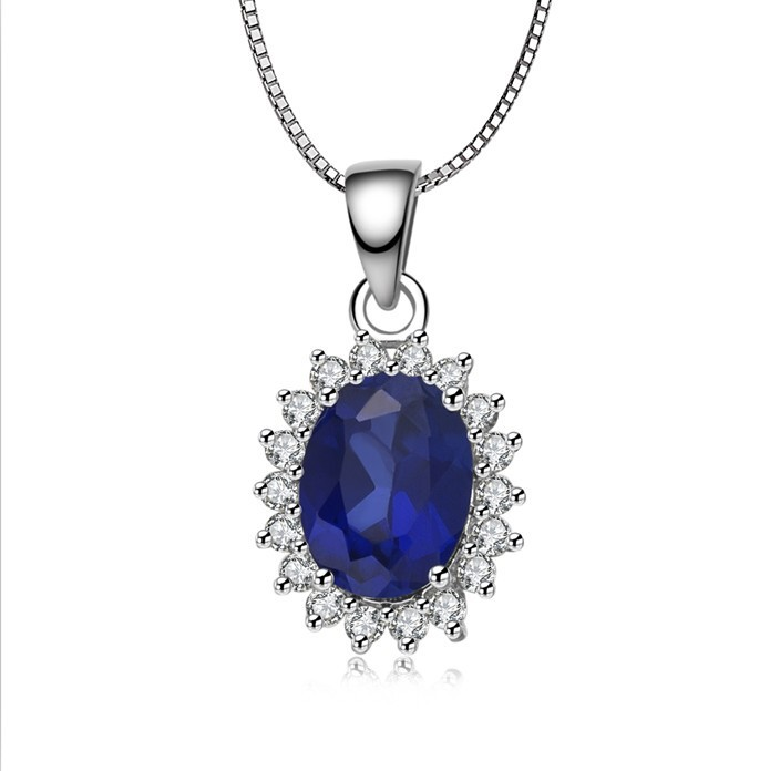 bijouterie Noble sapphire bridal wedding Synthetic gemstone pendant wholesale sterling silver 925 charms jewelry for women(China (Mainland))