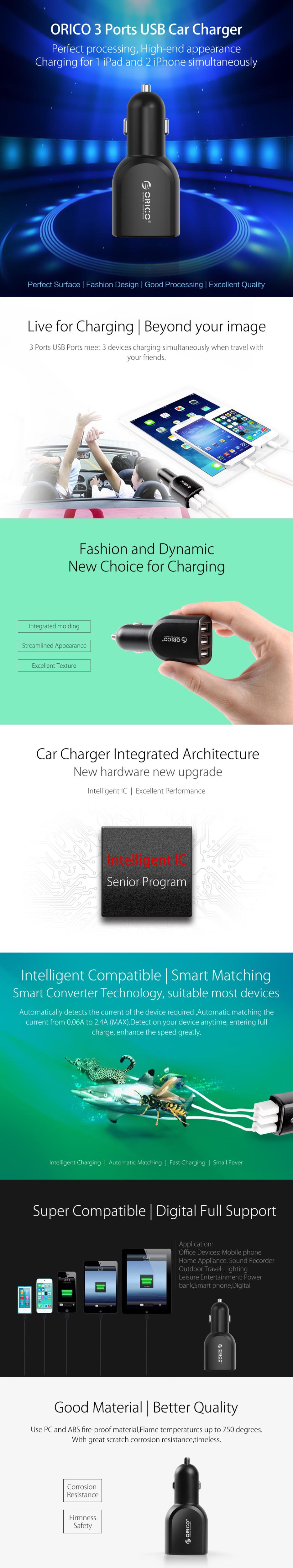 ORICO UCA-3U Mini DC 12V Input Universal 3 Port USB Car Charger For Pad/Phone/MP3/MP4/PSP – Black/White