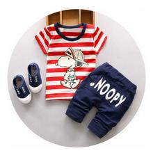 2016 new summer tracksuit children cotton stripe clothing sets baby boys cartoon dog clothes sets kids t-shirt +shorts 2pcs suit(China (Mainland))