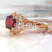 SGLOVE- NEW 2014! 18k Rose Gold Plated & 4 Prongs Cherry Ruby Genuine Austrian Crystal Cluster Ring, Love Gift for Best Friends