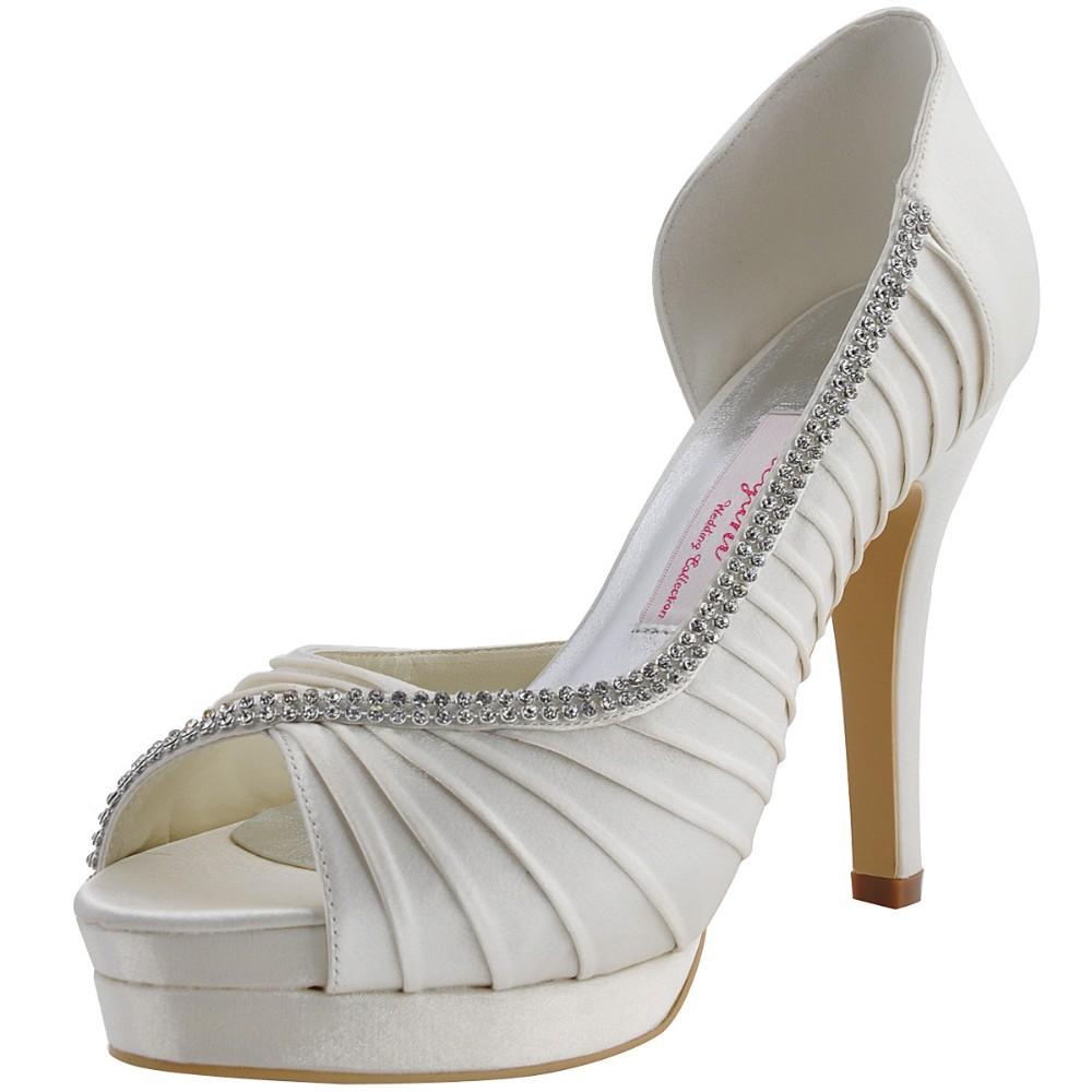 Fast Shipping EP11064-IPF-US White Women Wedding Party Pumps Platforms Sandals Peep Toe Pleat Rhinestones Satin Bridal Shoes<br><br>Aliexpress