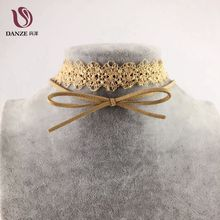 Buy Danze Fashion Flower Lace Double Layer Choke Necklace Vintage Cute Brown Bow-knot Women Jewelry Collier Femme for $1.09 in AliExpress store