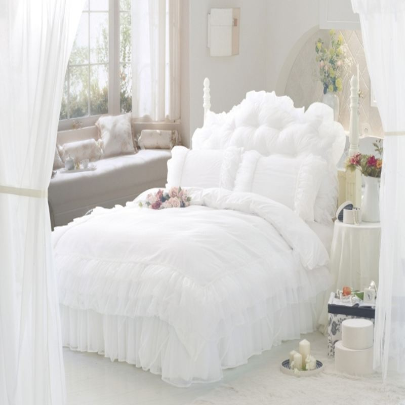 buy luxury snow white lace bedspread princess bedding sets queen king size 6pcs. Black Bedroom Furniture Sets. Home Design Ideas