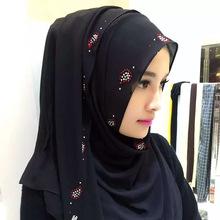Imitated Pearl Chiffon Hijab Muffler Muslim Scarf Mousika Scarf Hidden Button Design New Fashion 170*85(China (Mainland))