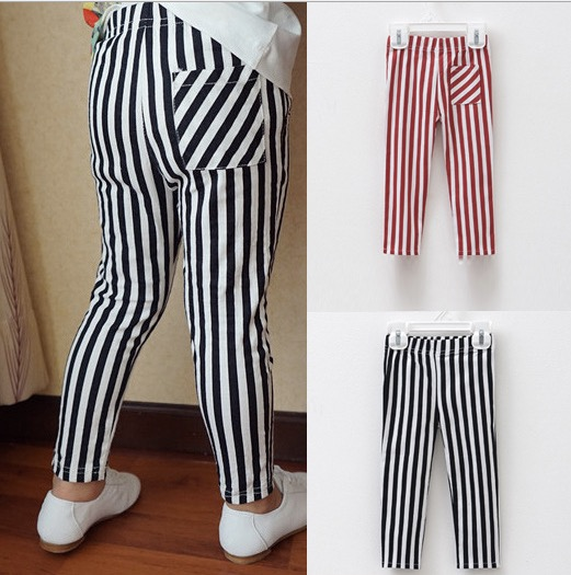 children silm stretch cotton pencil pants kids elastic legging black-white striped leisure trouses(China (Mainland))