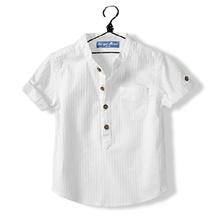 Hot New 2016 Summer Toddler Clothing Baby Boys White Shirt Cotton Short Sleeve Mandarin Collar 2-14 Years Old Children Kids Tops(China (Mainland))
