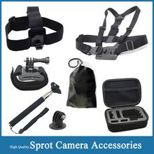 Gopro Accessories Set Helmet Harness Chest Belt Head Mount Strap Monopod For Gopro Hero 4 SJCAM SJ4000 SJ5000 plus xiaomi yi