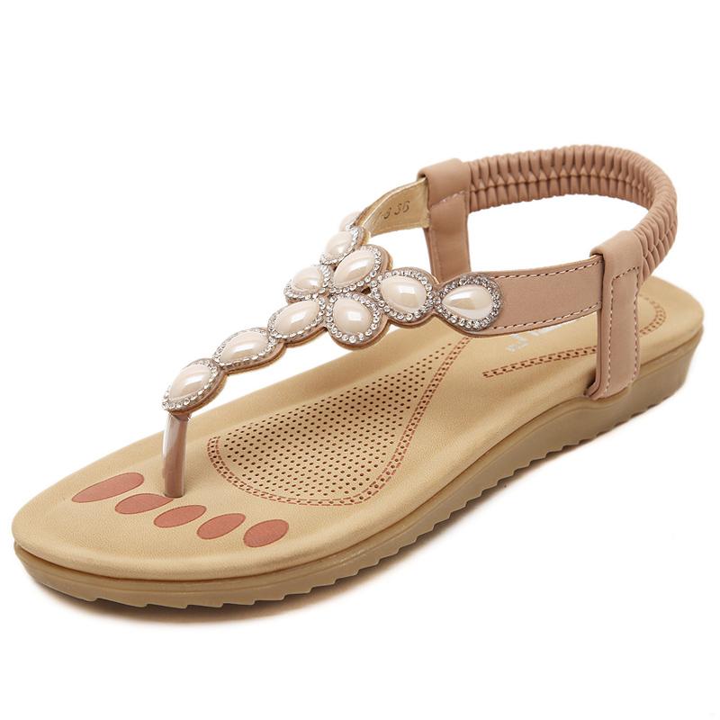 Plus size 35-41 rhinestone fashion women flat sandals scarpe donna sandali 2016 summer shoes elastic brand crystal sandalia