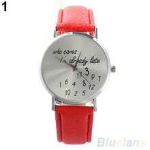 Women Watch Who Cares Faux Leather Band Quartz Date Round Dial Analog Wrist Watch 2LJH