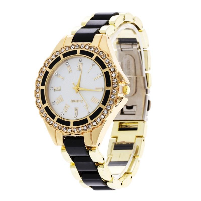 2016 New Stainless Steel Casual Watch Geneva Quartz Watches Women Analog Rhinestone Crystal WristWatch Relogio Reloj 6 colors