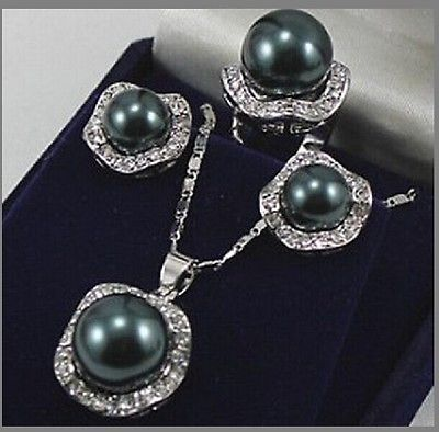 Fashion jewelry Silver Black Shell Pearl Pendant Earring Ring Set AAA style 100% Natural jade Noble Fine jewe(China (Mainland))