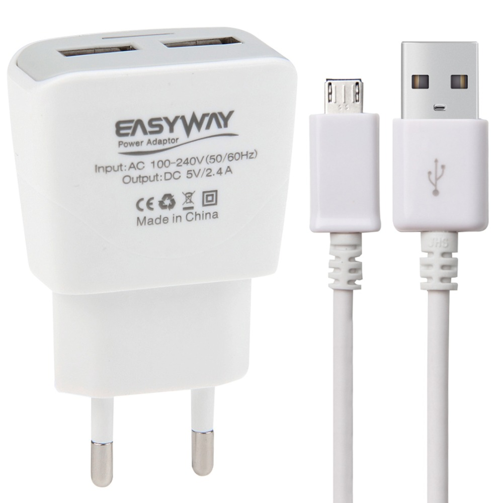 2-Ports 5V 2.4A High Compatibility USB Quick Charger with Micro USB Cable for Samsung/ Sony/ HTC/ LG/ Huawei etc, EU Plug(China (Mainland))