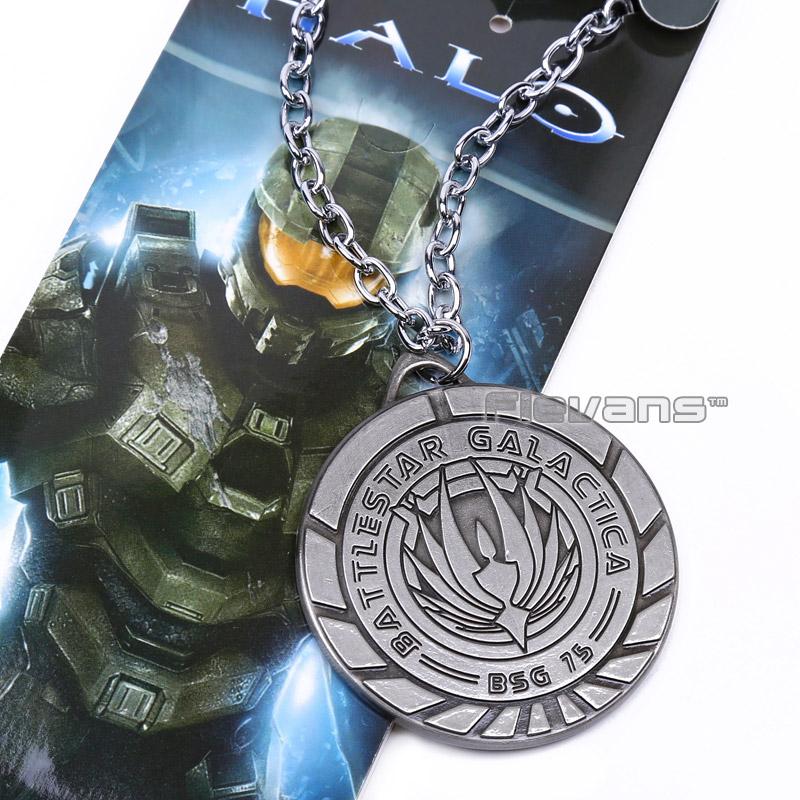 Halo Battlestar Galactica Necklace Metal Pendant Necklace ANPD2038(China (Mainland))