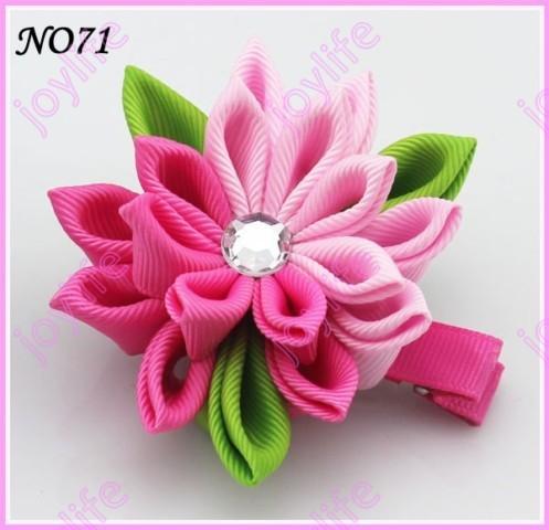 free shipping 24  pcs 3''   kanzashi flower hair clips badge reel hair clips