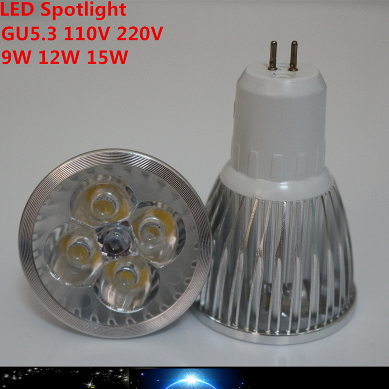 1X High power CREE Led Lamp Dimmable GU5.3 9W 12W 15W 110V 220V Led Spotlight Warm/ Pure Cool white(China (Mainland))