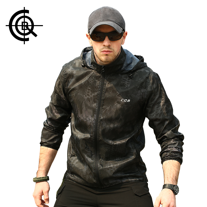 CQB Outdoor Camouflage UV-proof Skin Coat Hiking Waterproof Quickly-Dry Jacket Hooded Lightweight Jackets CSY0183(China (Mainland))