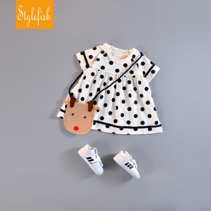 2016 New Female Baby Casual Childen Dress Summer Cotton O-Neck Short Sleeve Polka Dot Girl A-Line Dress Hot Sale(China (Mainland))