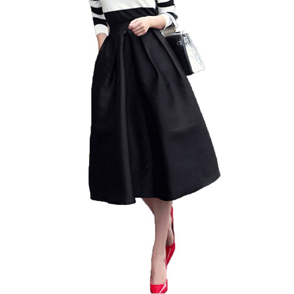Aliexpress.com  Buy Black Ruched High Waist Midi Skater Skirt Fall A Line Casual Knee Length ...