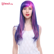 L-email wig Long Straight 60cm Fashion Synthetic Hair Mixed Purple&pink Twilight Sparkle Cosplay Wigs for Women(China (Mainland))
