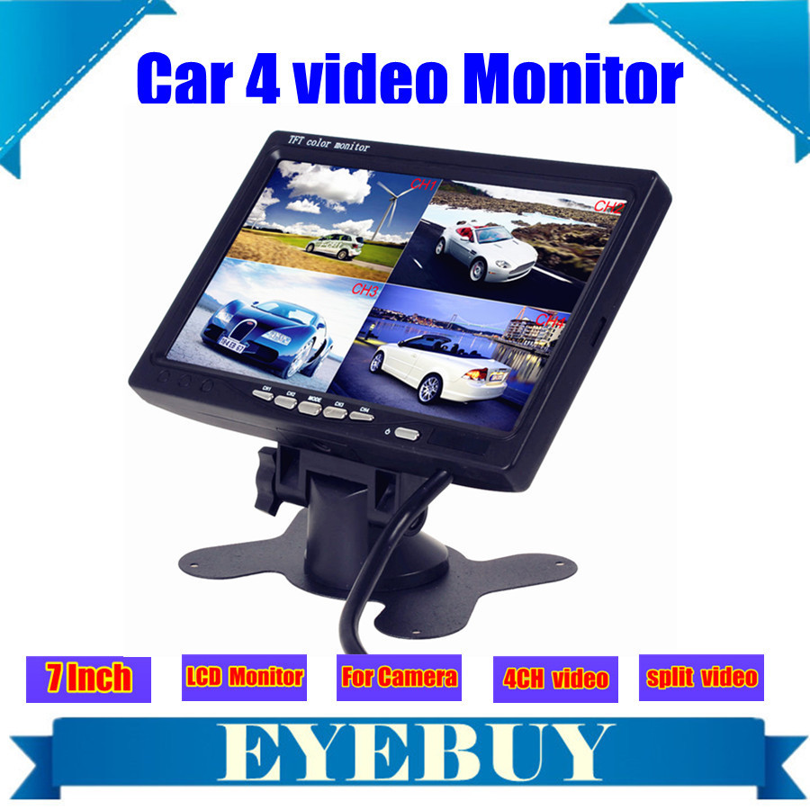 7 Inch car Auto lcd headrest camera monitor 4 Split Quad display screen w/  Car Video player for Rear view camera Parking system