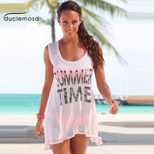 Duclemosa 2016 New Casual Style Loose O-Neck Sleeveless Ladies Shirts Summer Time Letters Print Beach Women Blouse(China (Mainland))