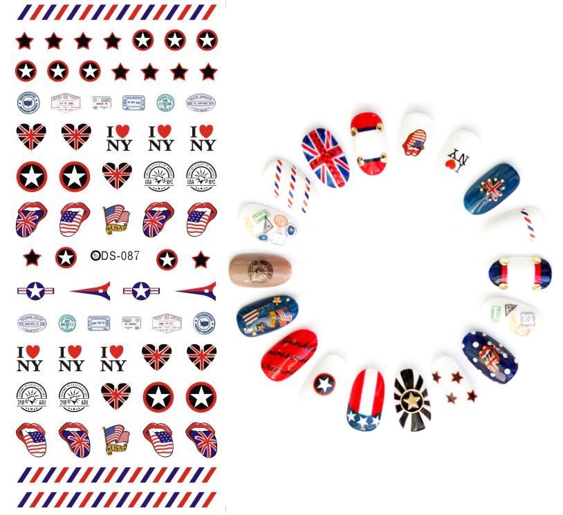 DS087 Nail Design Water Transfer Nails Art Sticker Stars Flags Harajuku Nail Wraps Sticker Tips Manicura nail supplies Decals(China (Mainland))
