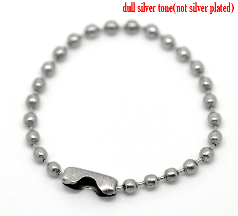 """100PCs Silver Tone Connector Clasp Ball Chains Keychain Tag 10cm(3 7/8"""") 2015 new(China (Mainland))"""