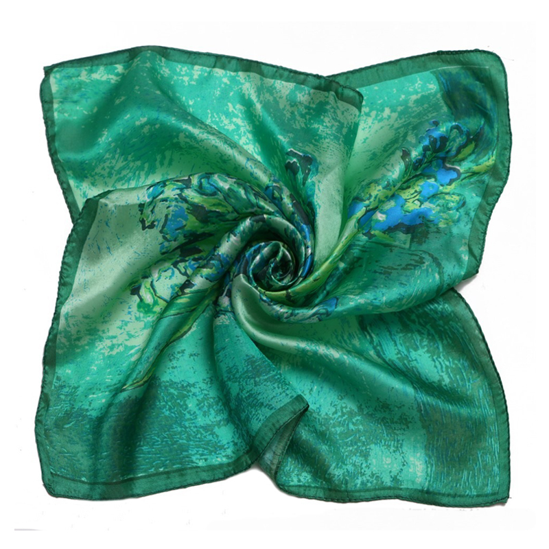 LING/Free Shipping High Quality 100% Silk Scarf,Digital Painted Flowers Scarf Women,green square scarfXF88024(China (Mainland))