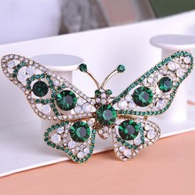 Fashion Woman Emerald Jewelry Kawaii Cute Butterfly Brooch For Wedding Accessories Brand Women Hijab Pins Broches Bijoux Relogio