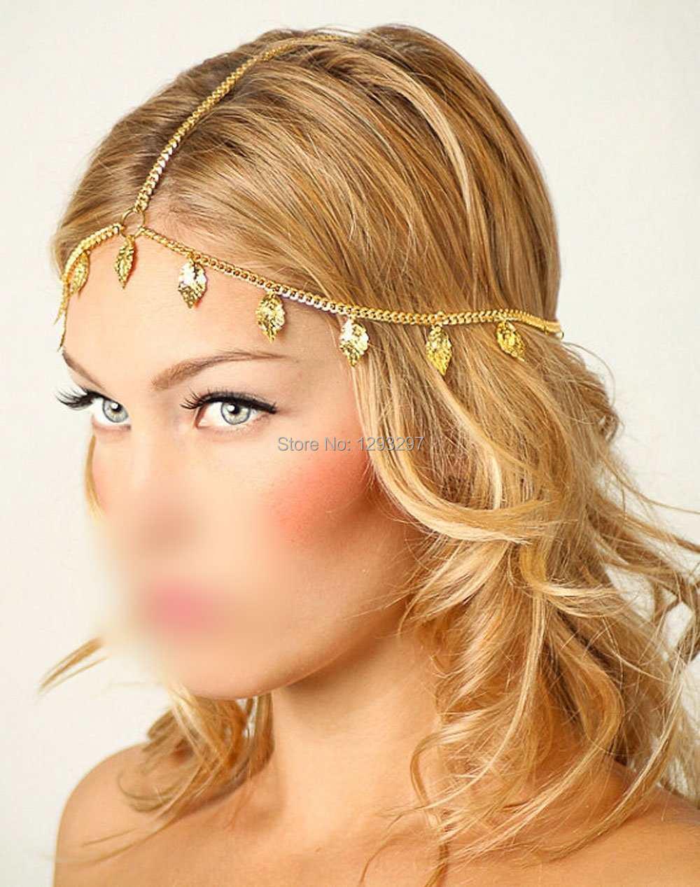 Celebrity Lady Tassel Metal Head Chain Headpiece BOHO Band Hair Headband Jewelry LJML(China (Mainland))