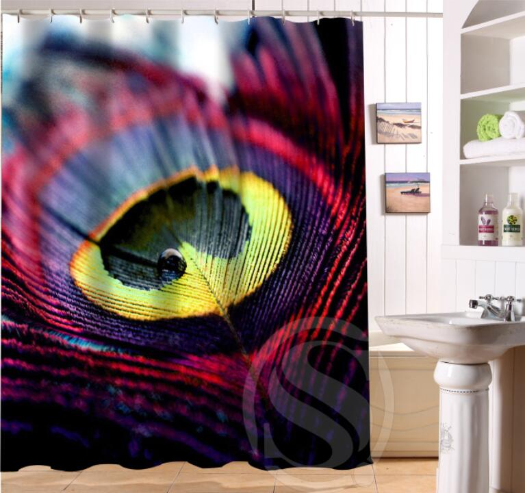 Free Shipping Custom Colorfulful peacock Waterproof Fabric Bathroom Shower Curtain home decoration
