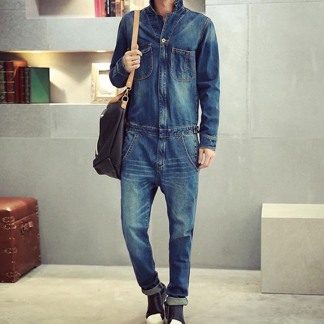 Мужская полный рукавом джинсовые комбинезоны свободного покроя большой длины джинсы ...