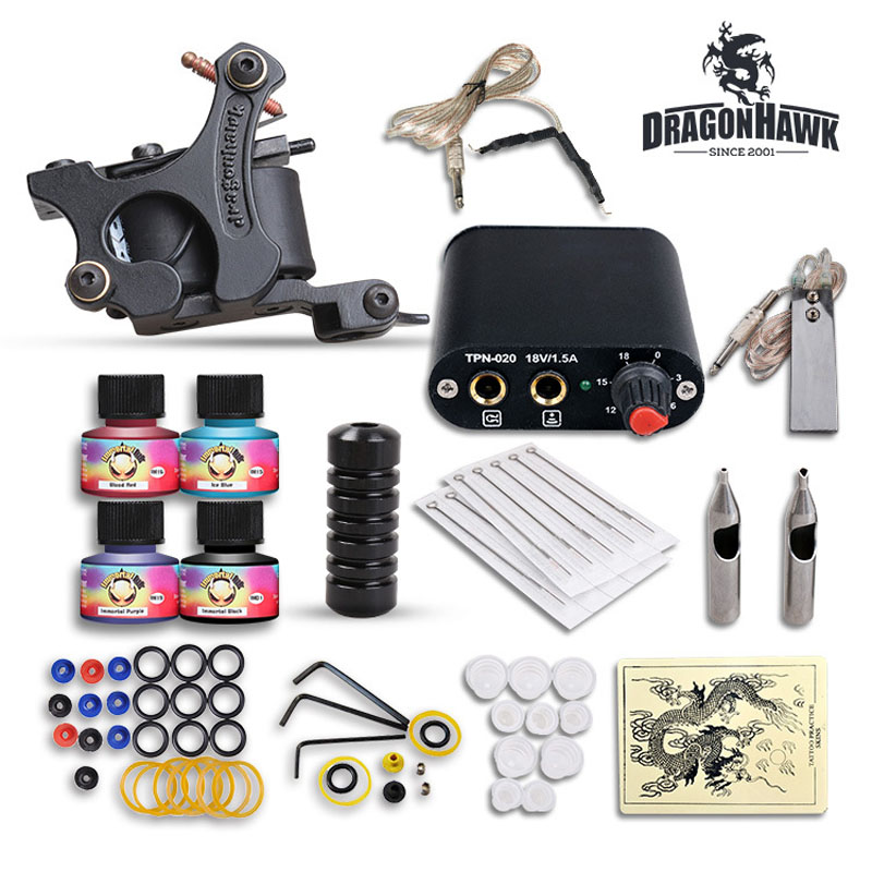 High Quality Complete Tattoo Kit Set Equipment 1 tattoo Machine Power Supply gun 4 Color Inks<br><br>Aliexpress