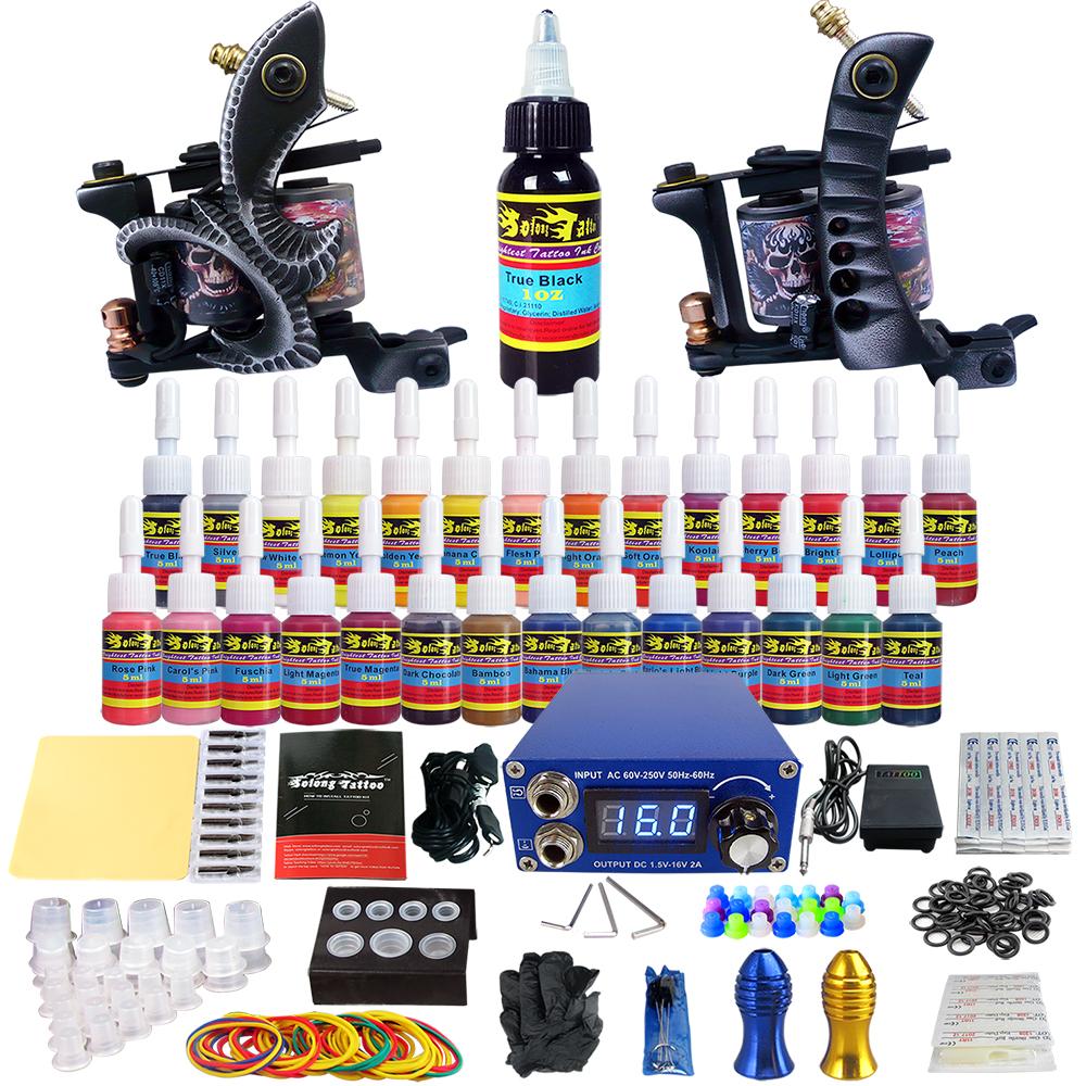 Complete Tattoo Kit 2 Professional Tattoo Machine Kit Coil Machine Guns 28 Inks Power Supply Needle Grips TKB04(China (Mainland))