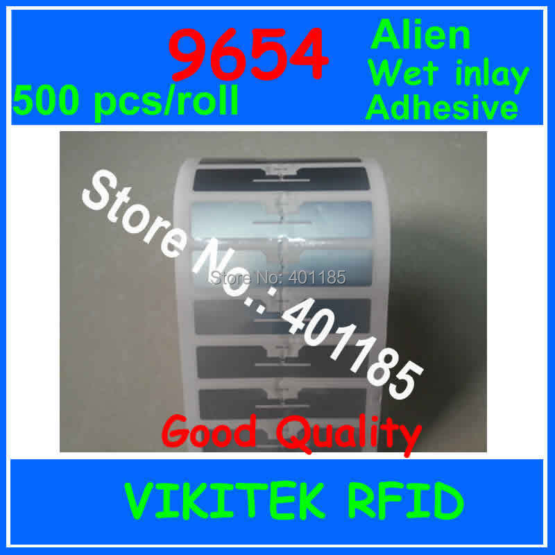 Alien authoried 500pcs per roll 9654 UHF RFID wet inlay glue adhesive 860-960MHZ Higgs3 EPC C1G2 ISO18000-6C used RFID tag label(China (Mainland))