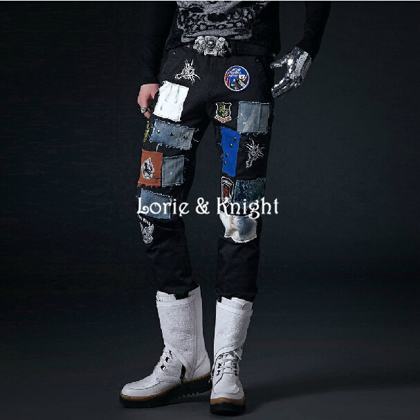 Japanese Harajuku Style Mens Black Punk Pants Street Fashion Trousers with Patches Одежда и ак�е��уары<br><br><br>Aliexpress