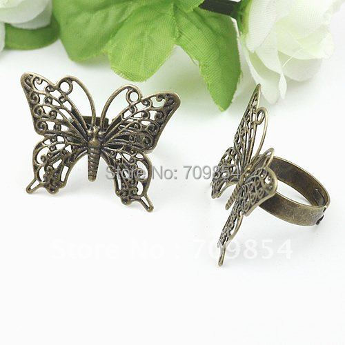 free ship!!!26*36mm antique brass bronze plated butterfly shape ring base/lead free nickel free<br><br>Aliexpress
