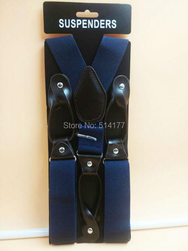 Мода человека кнопки подтяжки мужская 6 кнопка-луночное кожаные фитинги скобки y-обратно ligas Tirantes 3.5 * 120 см бесплатная доставка