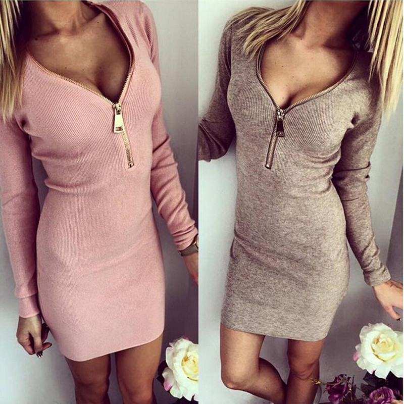 Women Dress Long Sleeve V-neck Dress Sexy Bodycon Stretch Dresses 2015 Fashion Sring Autumn Still A Piece Of Leisure Wear(China (Mainland))