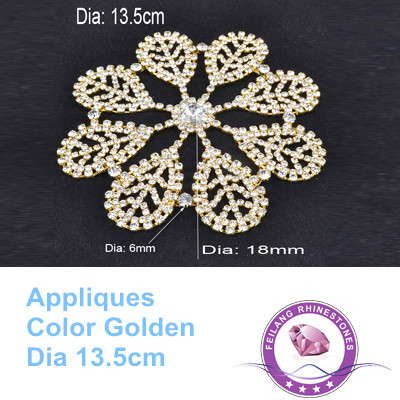 Snowflake Shape Bright Popular Best Quality Attractive Gold Base Crystal Rhinestones Applique(China (Mainland))