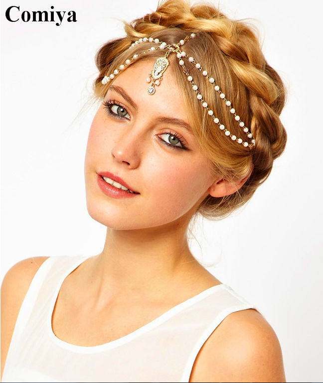 boho Metal Chain Wrap JewelryPearl rhinestone Fashion headband Bridal Hair Accessories charm women's Gold Head Chain Pieces(China (Mainland))
