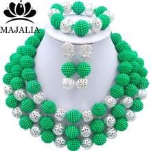 Fashion nigerianischen hochzeits afrikanische perlen schmuck-Set lila perlen halskette armband ohrringe schmuck-set VV-137(China)