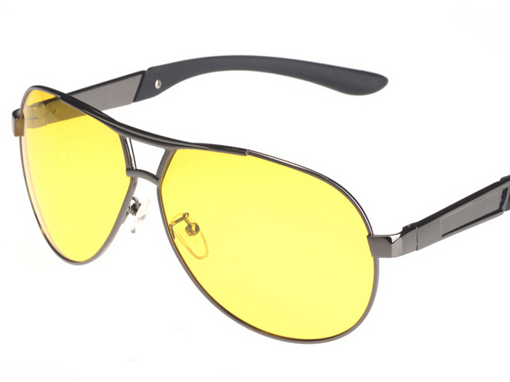 Mens Yellow Frame Sunglasses : 2015 new Fashion Yellow Lens Polarized Night Vision ...