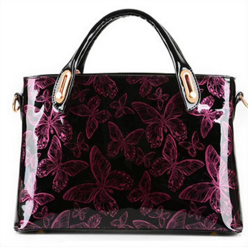 2015 New womens patent leather handbag  glossy butterfly adornment  Women Messenger Bags Shoulder Bag Fashion Crossbody Bag <br><br>Aliexpress